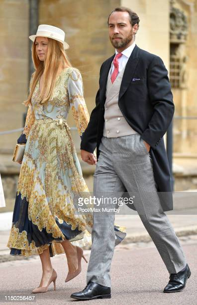 Alizee Thevenet and James Middleton attend the wedding of Lady Gabriella Windsor and Thomas Kingston at St George's Chapel on May 18, 2019 in...