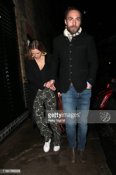 Alizee Thevenet and James Middleton seen attending Princess Beatrice's engagement party at Chiltern Firehouse on December 18 2019 in London England