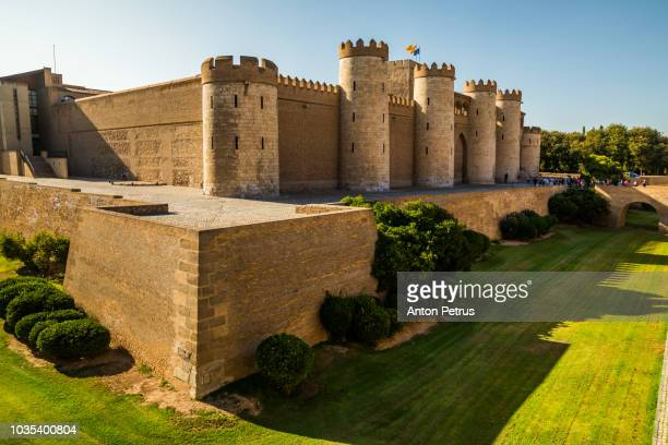 aljaferia, a fortified medieval islamic palace in zaragoza - spain - anton petrus stock pictures, royalty-free photos & images