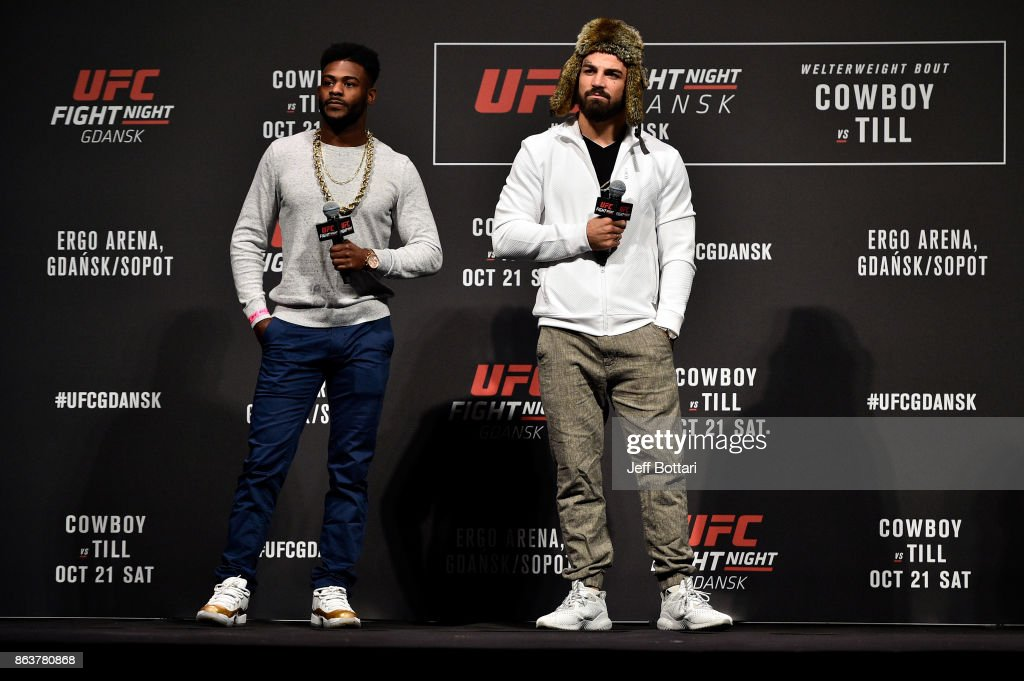 Aljamain Sterling and Mike Perry interact with fans during a Q&A session before the UFC Fight Night Weigh-in inside Ergo Arena on October 20, 2017 in Gdansk, Poland.