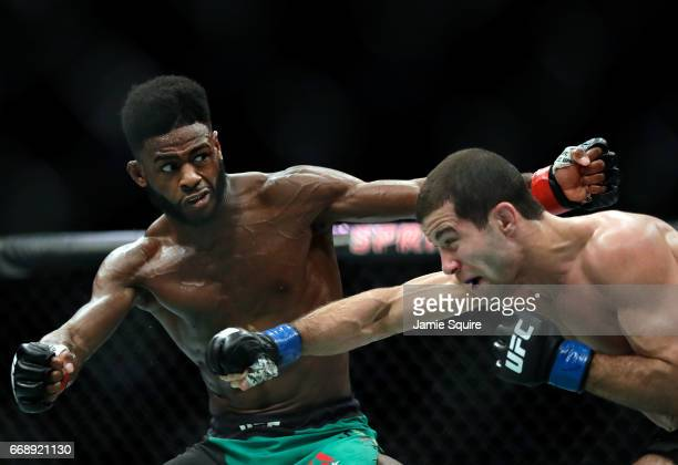 Aljamain Sterling battles Augusto Mendes during their Bantamweight bout on UFC Fight Night at the Sprint Center on April 15 2017 in Kansas City...