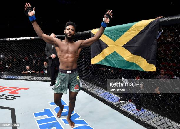 Aljamain Sterling enters the Octagon before facing Marlon Moraes of Brazil in their bantamweight bout during the UFC Fight Night event inside Save...