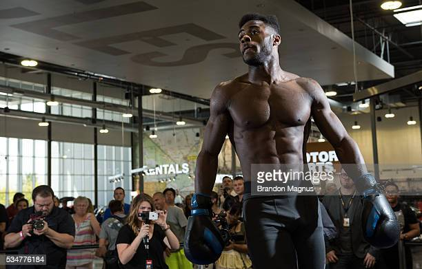 Aljamain Sterling holds an open workout for the fans and media at the Las Vegas HarleyDavidson on May 27 2016 in Las Vegas Nevada
