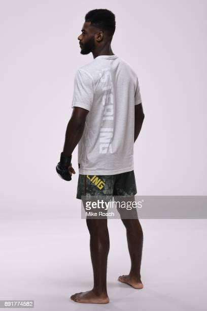 Aljamain Sterling poses for a portrait during a UFC photo session on December 5 2017 in Fresno California