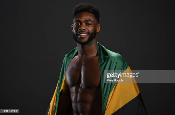 Aljamain Sterling poses for a post fight portrait backstage during the UFC Fight Night event at Sprint Center on April 15 2017 in Kansas City Missouri