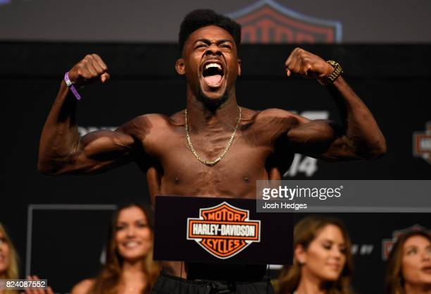 Aljamain Sterling poses on the scale during the UFC 214 weighin inside the Honda Center on July 28 2017 in Anaheim California