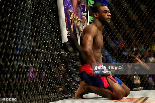 Aljamain Sterling takes a moment against Takeya Mizugaki of Japan before their bantamweight bout during the UFC Fight Night event at Prudential...