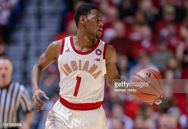 Aljami Durham of the Indiana Hoosiers brings the ball up court during the game against the Ohio State Buckeyes at Assembly Hall on February 10 2019...