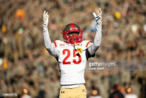 Aljareek Malry of the VMI Keydets during teh second quarter of a game against the Army Black Knights at Michie Stadium on November 16, 2019 in West...