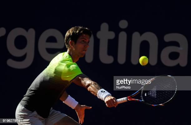 Aljaz Bedene during a tennis match against Diego Schwartzman at the Argentina Open Tennis Tournament in Buenos Aires on February 16 2018