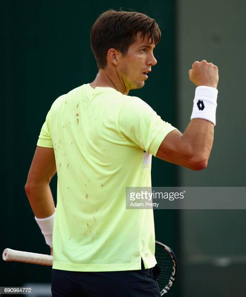 Aljaz Bedene of Great Britain celebrates during the mens singles second round match against Jiri Vesely of The Czech Republic on day four of the 2017...
