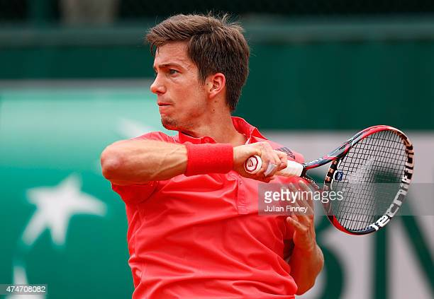 Aljaz Bedene of Great Britain in action in his Men's Singles match against Dominic Thiem of Austria on day two of the 2015 French Open at Roland...