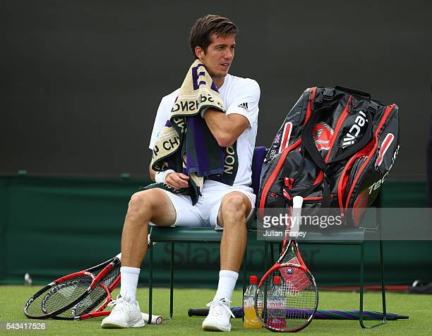 Aljaz Bedene of Great Britain looks on following defeat during the Men's Singles first round match against Richard Gasquet of Franceon day two of the...