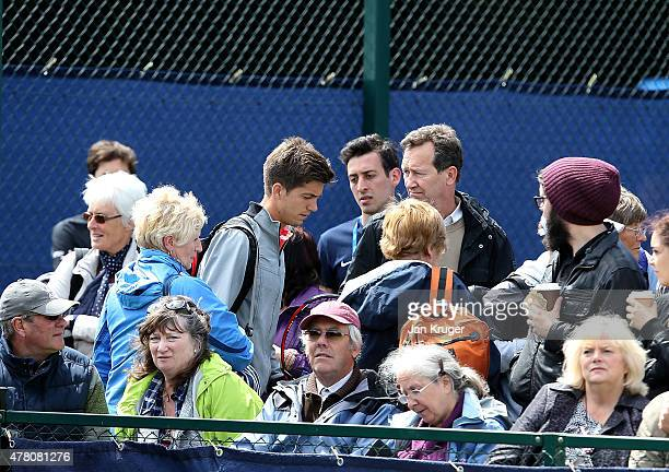 Aljaz Bedene of Great Britain makes his way to court ahead of his match against Diego Schwartzman of Argentina on day two of the Aegon Open...
