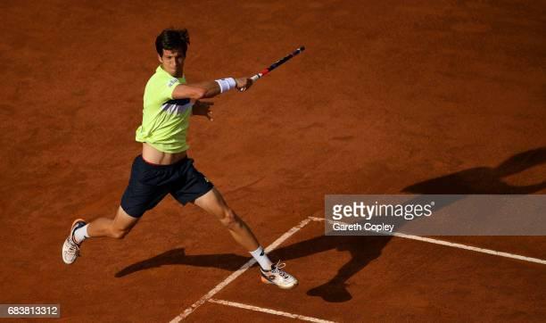 Aljaz Bedene of Great Britain plays a shot during his second round match against Novak Djokovic of Serbia in The Internazionali BNL d'Italia 2017 at...