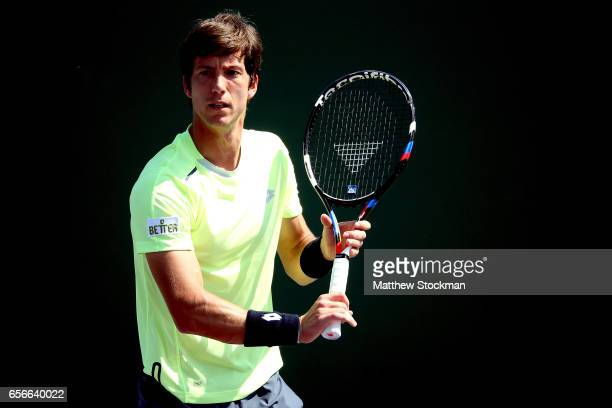 Aljaz Bedene of Great Britain plays JanLennard Struff of Germany during the Miami Open at the Crandon Park Tennis Center on March 22 2017 in Key...