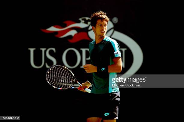 Aljaz Bedene of Great Britain reacts against Andrey Rublev of Russia during their first round Men's Singles match on Day Three of the 2017 US Open at...