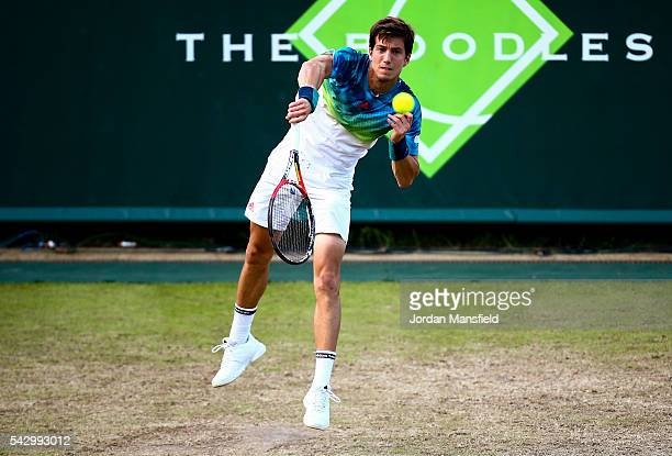 Aljaz Bedene of Great Britain serves during his match against Lukas Rosol of the Czech Republic during day five of The Boodles Tennis Event at Stoke...