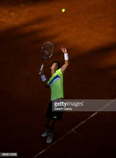 Aljaz Bedene of Great Britain serves during his second round match against Novak Djokovic of Serbia in The Internazionali BNL d'Italia 2017 at Foro...