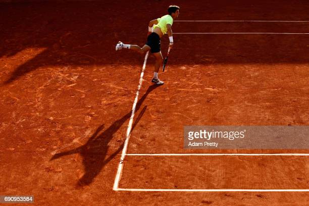 Aljaz Bedene of Great Britain serves during the mens singles second round match against Jiri Vesely of The Czech Republic on day four of the 2017...