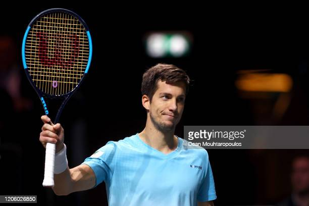 Aljaz Bedene of Slovenia celebrates his victory against Stefanos Tsitsipas of Greece during Day 6 of the ABN AMRO World Tennis Tournament at...