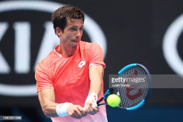 Aljaz Bedene of Slovenia plays a backhand in his first round match against Alexander Zverev of Germany during day two of the 2019 Australian Open at...