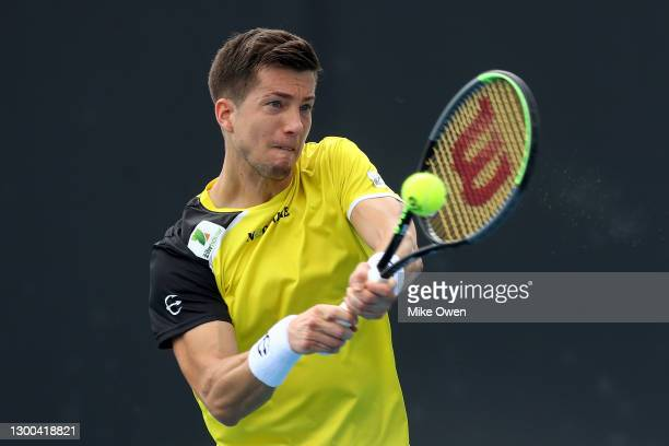 Aljaz Bedene of Slovenia plays a backhand in his match against Jannik Sinner of Italy during day five of the ATP 250 Great Ocean Road Open at...