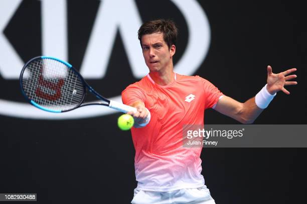 Aljaz Bedene of Slovenia plays a forehand in his first round match against Alexander Zverev of Germany during day two of the 2019 Australian Open at...