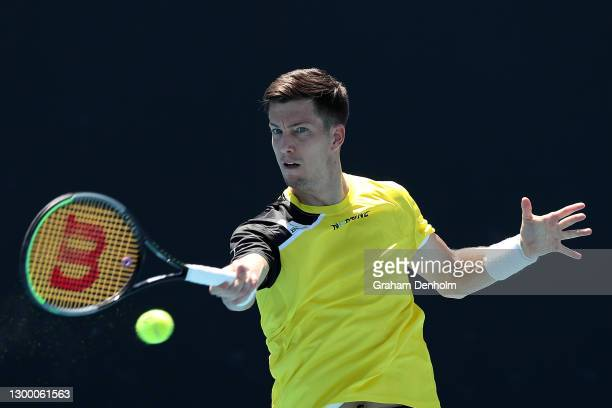 Aljaz Bedene of Slovenia plays a forehand in his match against Dane Sweeny of Australia during day three of the ATP 250 Great Ocean Road Open at...