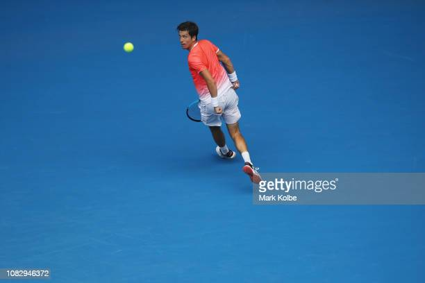 Aljaz Bedene of Slovenia plays a shot in his first round match against Alexander Zverev of Germany during day two of the 2019 Australian Open at...