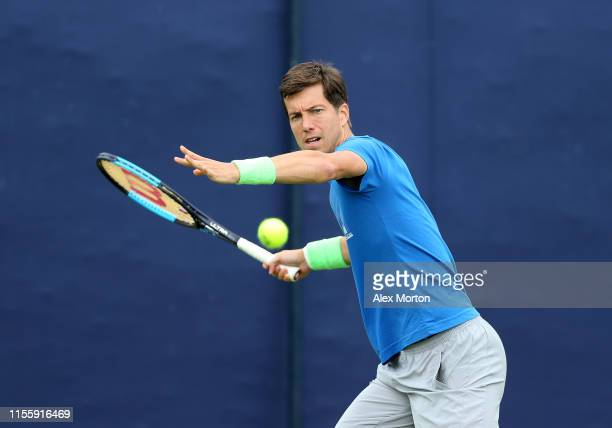 Aljaz Bedene of Slovenia plays a shot prior to the Fever-Tree Championships at Queens Club on June 14, 2019 in London, United Kingdom.