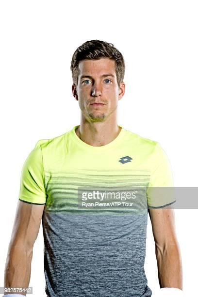 Aljaz Bedene of Slovenia poses for portraits during the Australian Open at Melbourne Park on January 14 2018 in Melbourne Australia