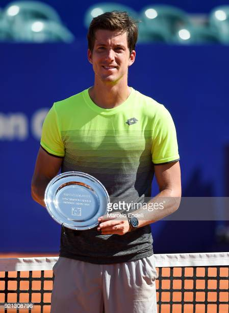 Aljaz Bedene of Slovenia poses with the finalist trophy after losing the final match against Dominic Thiem of Austria as part of ATP Argentina Open...