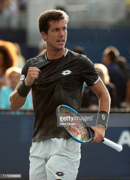 Aljaz Bedene of Slovenia reacts against Jozef Kovalik of Slovakia during their Men's Singles first round match on day two of the 2019 US Open at the...