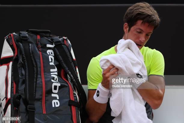 Aljaz Bedene of Slovenia reacts during a match against Pablo Carreno Busta of Spain during the ATP Rio Open 2018 at Jockey Club Brasileiro on...