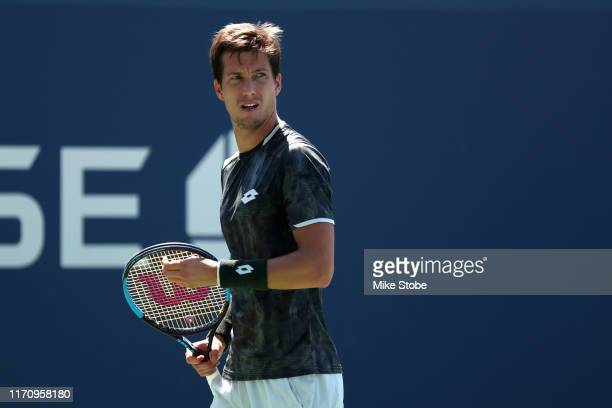 Aljaz Bedene of Slovenia reacts during his Men's Singles second round match against Benoit Paire of France on day four of the 2019 US Open at the...