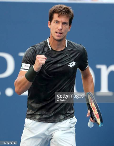 Aljaz Bedene of Slovenia reacts during his Men's Singles third round match against Alexander Zverev of Germany on day six of the 2019 US Open at the...