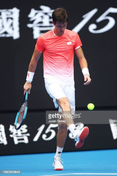 Aljaz Bedene of Slovenia reacts in his first round match against Alexander Zverev of Germany during day two of the 2019 Australian Open at Melbourne...