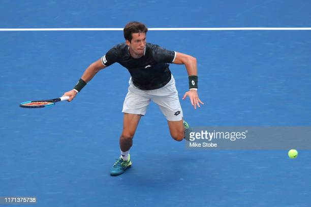 Aljaz Bedene of Slovenia returns a shot during his Men's Singles third round match against Alexander Zverev of Germany on day six of the 2019 US Open...