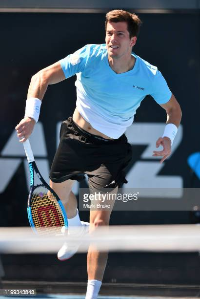 Aljaz Bedene of Slovenia verse Tommy Paul of the USA on Show Court during day three of the 2020 Adelaide International at Memorial Drive on January...