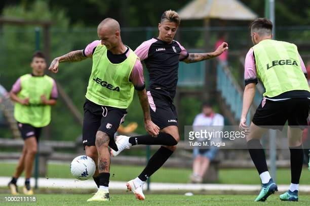 Aljaz Struna and Simone Lo Faso in action during a training session at the US Citta' di Palermo training camp on July 16 2018 in Belluno Italy