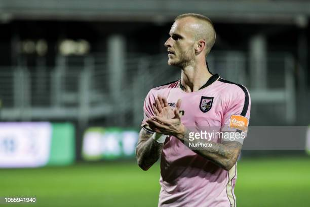 Aljaz Struna during the Serie B match between Carpi and Palermo at Stadio Sandro Cabassi on October 30 2018 in Carpi Italy