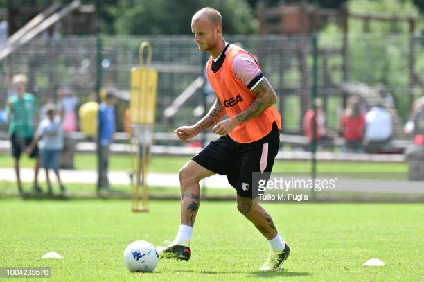 Aljaz Struna in action during a training session at the US Citta' di Palermo training campon July 23 2018 in Belluno Italy
