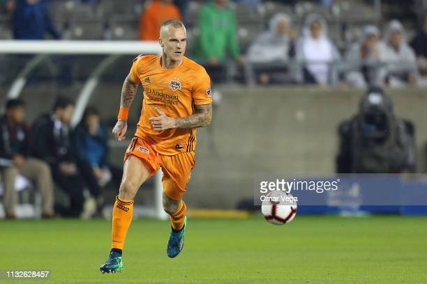 Aljaz Struna of Houston Dynamo controls the ball during the match between Houston Dynamo and CD Guastatoya as part of the CONCACAF Champions League...