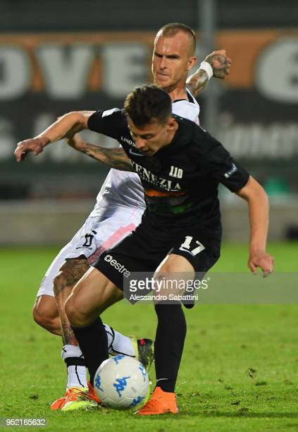 Aljaz Struna of US Citta di Palermo competes for the ball whit Davide Marsura of Venezia FC during the serie B match between Venezia FC and US Citta...