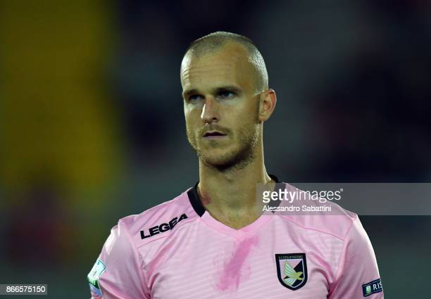 Aljaz Struna of US Citta di Palermo looks on during the Serie B match between FC Carpi and US Citta di Palermo on October 24 2017 in Carpi Italy
