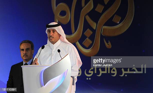 AlJazeera's chairman Sheikh Hamad bin Thamer alThani speaks during a ceremony marking the 15th anniversary of the launching of the Qatarbased Arabic...