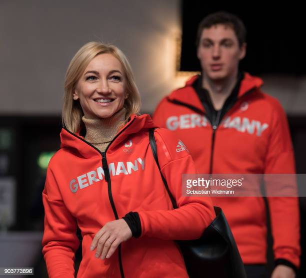 Aljona Savchenko and Bruno Massot arrive for the 2018 PyeongChang Olympic Games German Team Kit Handover at Postpalast on January 11 2018 in Munich...