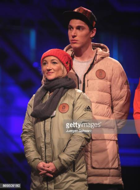 Aljona Savchenko and Bruno Massot attend the presentation of the outfit for German athletes competing in the upcoming Olympic Games in South Korea...