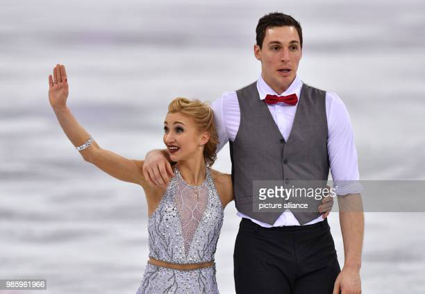 Aljona Savchenko and Bruno Massot from Germany in action during the figure skating pairs short program of the 2018 Winter Olympics in the Gangneung...